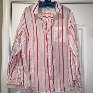 ⬇️FINAL PRICE⬇️ Old Navy white red striped blouse